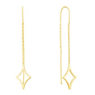 9ct Yellow Gold Diamond Shape Thread Through Drop Earrings - Product number 3141756