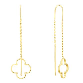 9ct Yellow Gold Open Clover Thread Through Drop Earrings - Product number 3141764