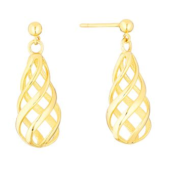 9ct Yellow Gold Swirl Cage Drop Earrings - Product number 3141802