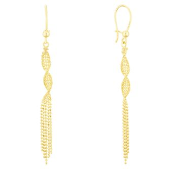 9ct Yellow Gold Twisted Tassle Drop Earrings - Product number 3141845