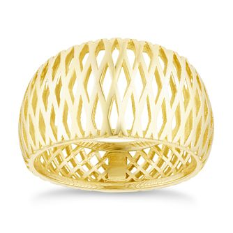 9ct Yellow Gold Criss Cross Band Ring - Product number 3142132