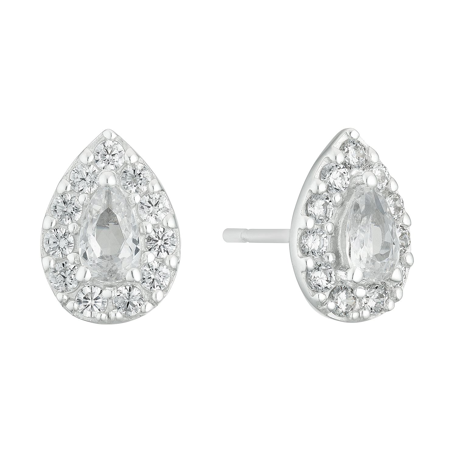 9ct White Gold Cubic Zirconia Pear Shape Halo Stud Earrings - Product number 3142272