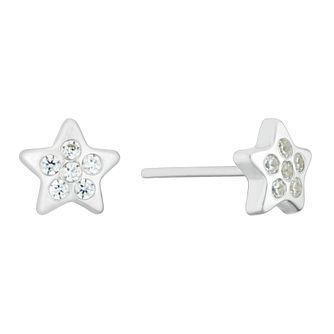 9ct White Gold Cubic Zirconia Star Stud Earrings - Product number 3142299