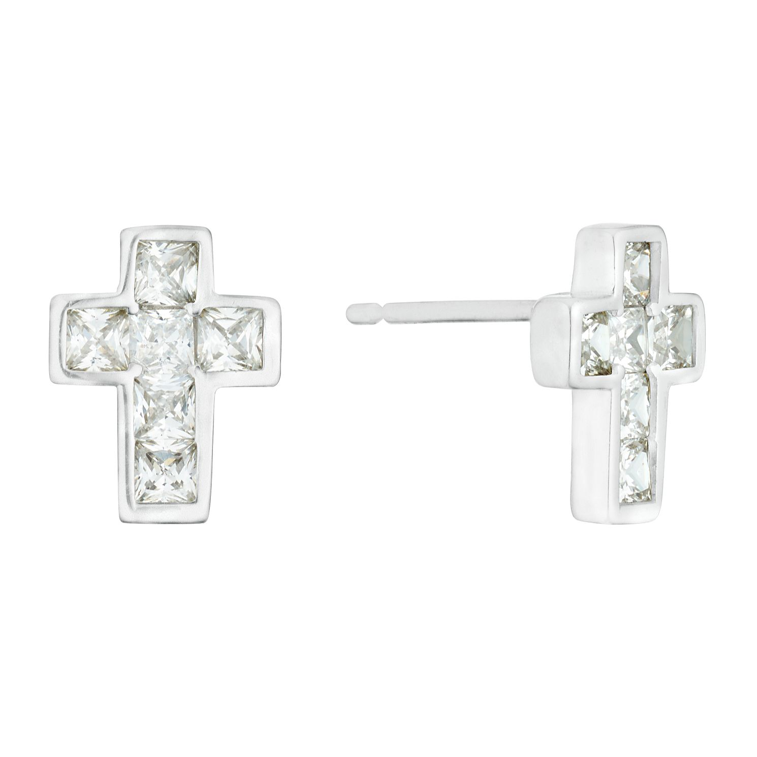 9ct White Gold Cubic Zirconia Cross Stud Earrings - Product number 3142302