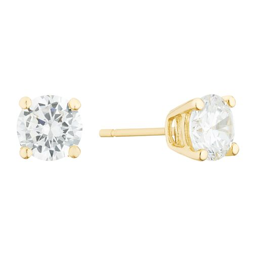 9ct Yellow Gold Cubic Zirconia 6mm Round Stud Earrings - Product number 3142329
