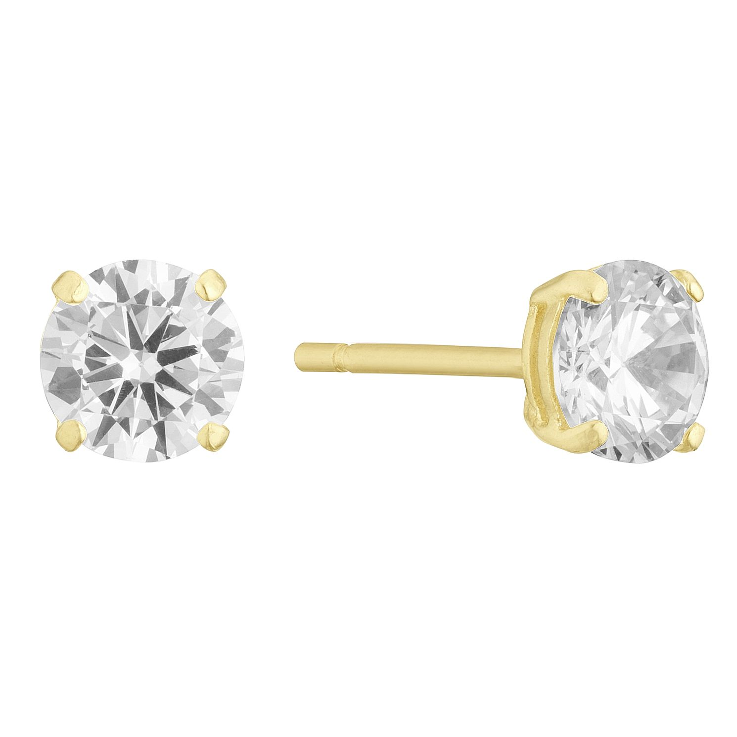 9ct Yellow Gold Cubic Zirconia 5mm Round Stud Earrings - Product number 3142337