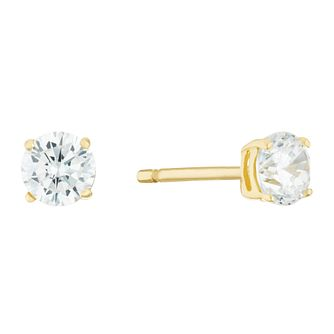 9ct Yellow Gold Cubic Zirconia 4mm Round Stud Earrings - Product number 3142345