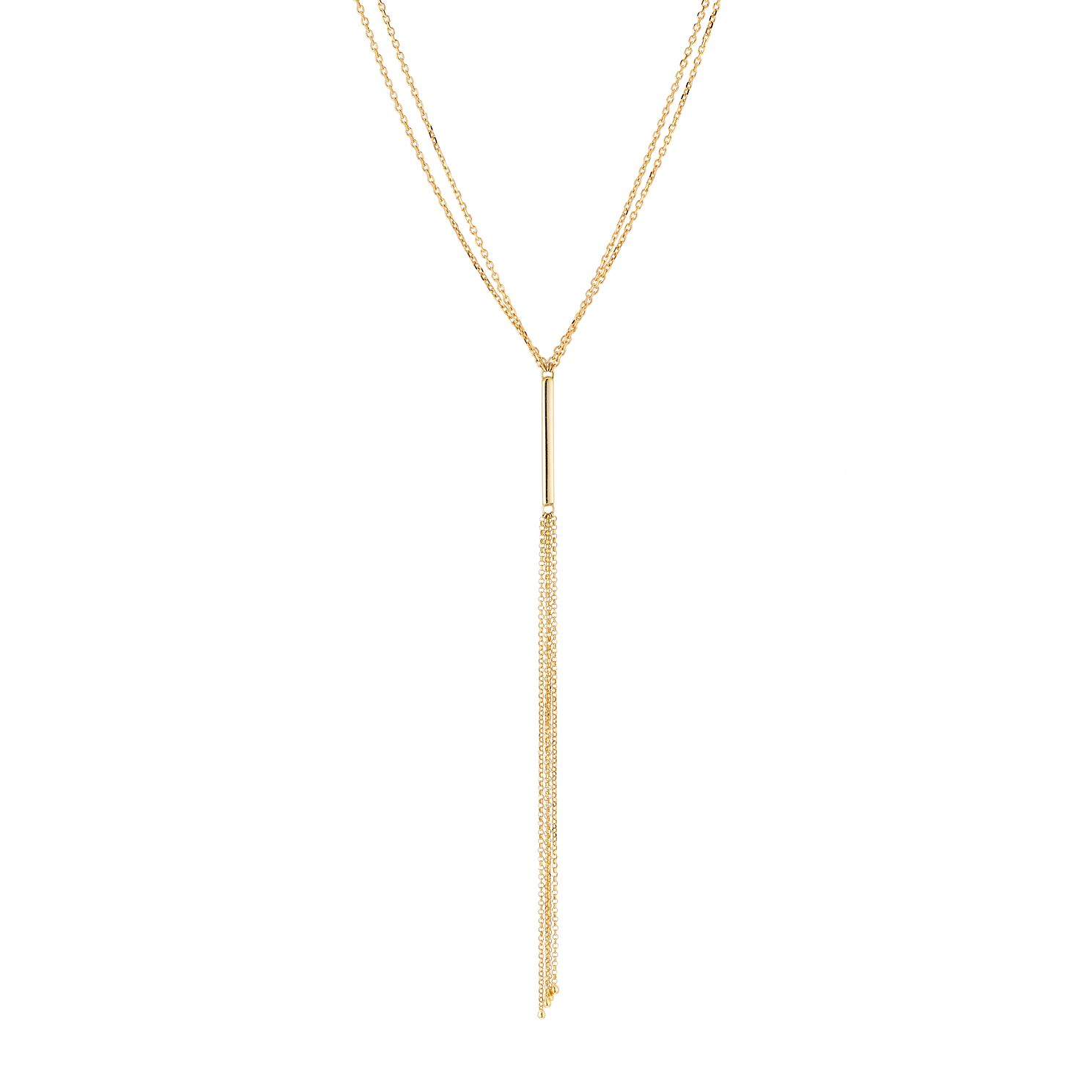 9ct Yellow Gold Bar Tassle Necklace - Product number 3142523