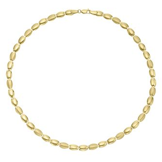 9ct Yellow Gold Polished & Matte Oval Necklace - Product number 3142558