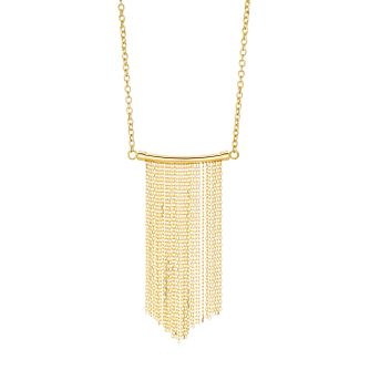 9ct Yellow Gold Curve Bar Tassle Necklace - Product number 3142566