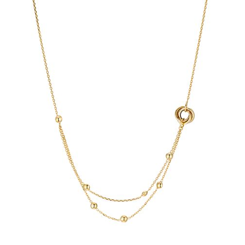 9ct Yellow Gold Bead & Knot Double Layer Necklace - Product number 3142620