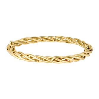 9ct Yellow Gold Three Strand Woven Bangle - Product number 3143481