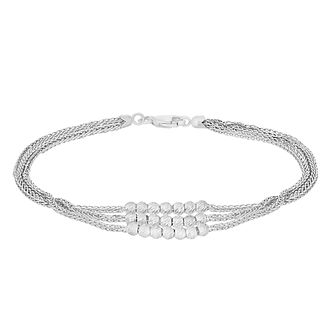 9ct White Gold Three Strand Beaded Bracelet - Product number 3143589
