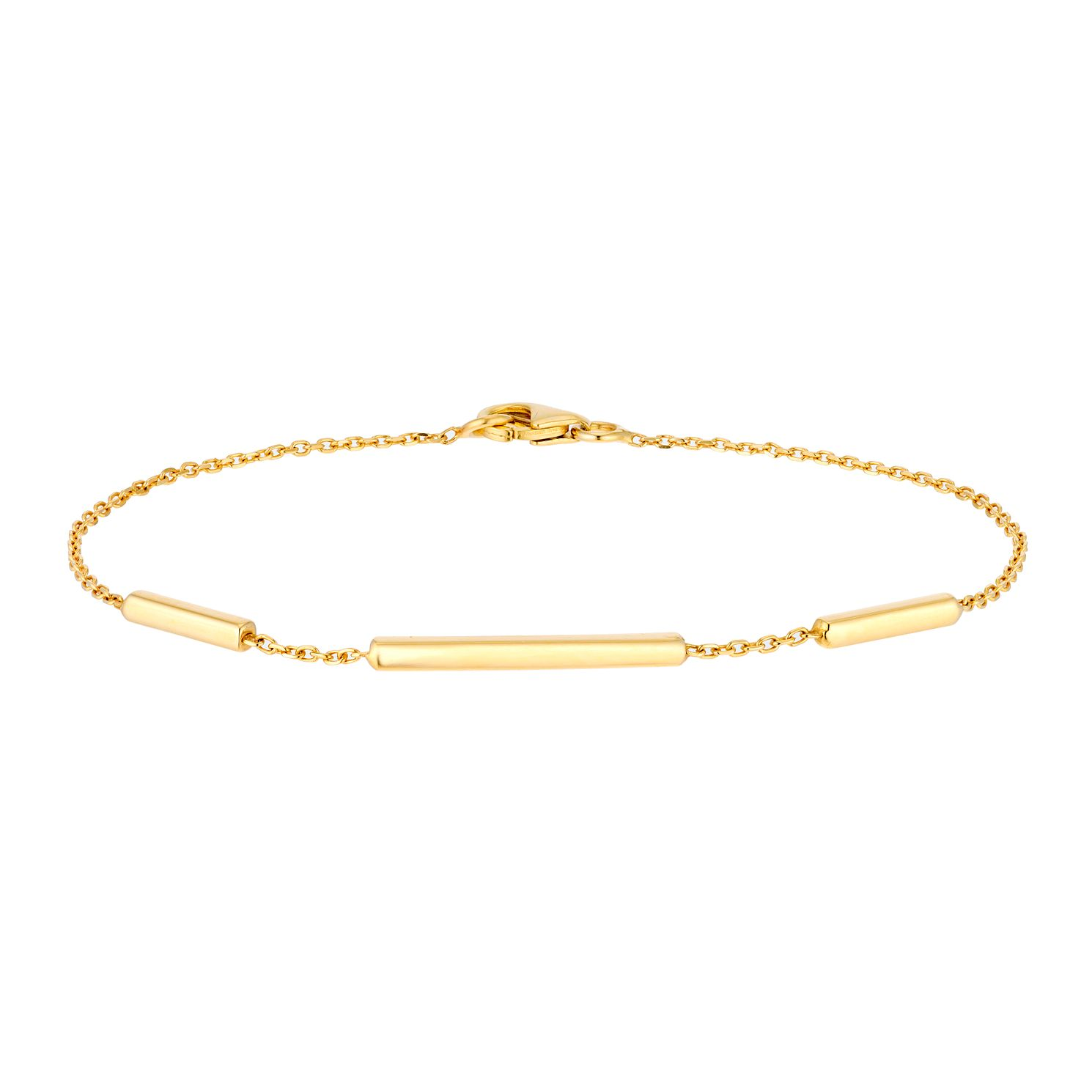9ct Yellow Gold Bar Station Bracelet - Product number 3143597