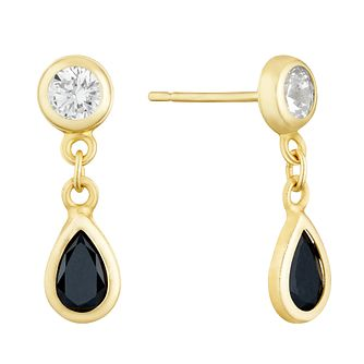 9ct Yellow Gold Sapphire & CZ Teardrop Drop Earrings - Product number 3143791