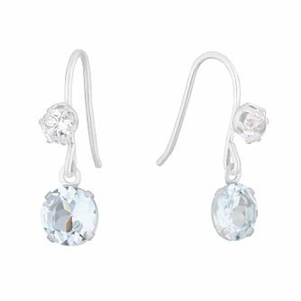 9ct White Gold Blue Topaz & Cubic Zirconia Drop Earrings - Product number 3143805