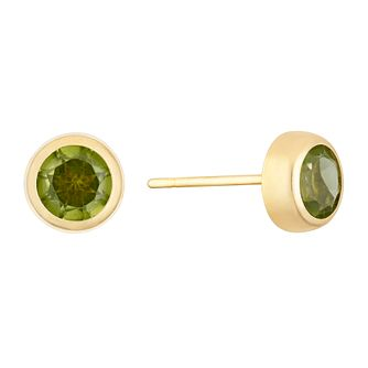 9ct Yellow Gold Peridot Round Stud Earrings - Product number 3143813