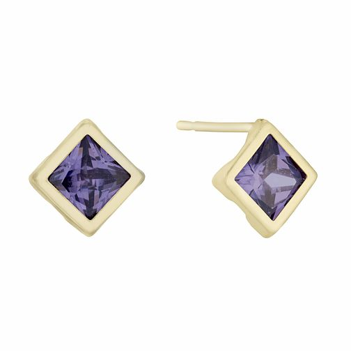 9ct Yellow Gold Amethyst Square Stud Earrings - Product number 3143899