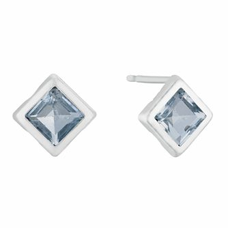 9ct White Gold Blue Topaz Square Stud Earrings - Product number 3143910