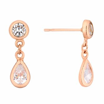 9ct Rose Gold Cubic Zirconia Teardrop Earrings - Product number 3144054