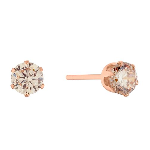 9ct Rose Gold Champagne Cubic Zirconia 4mm Stud Earrings - Product number 3144089