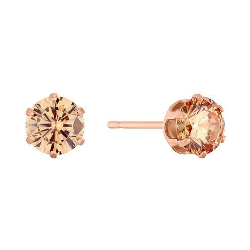 9ct Rose Gold Champagne Cubic Zirconia 5mm Stud Earrings - Product number 3144208