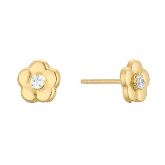 9ct Yellow Gold Crystal Flower Stud Earrings - Product number 3144275