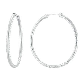 9ct White Gold 32mm Capped Tube Hoop Earrings - Product number 3144291