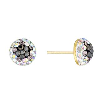 9ct Yellow Gold Crystal Glitterball Stud Earrings - Product number 3144305