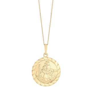 9ct Yellow Gold Saint Christopher Rope Edge Pendant - Product number 3144313