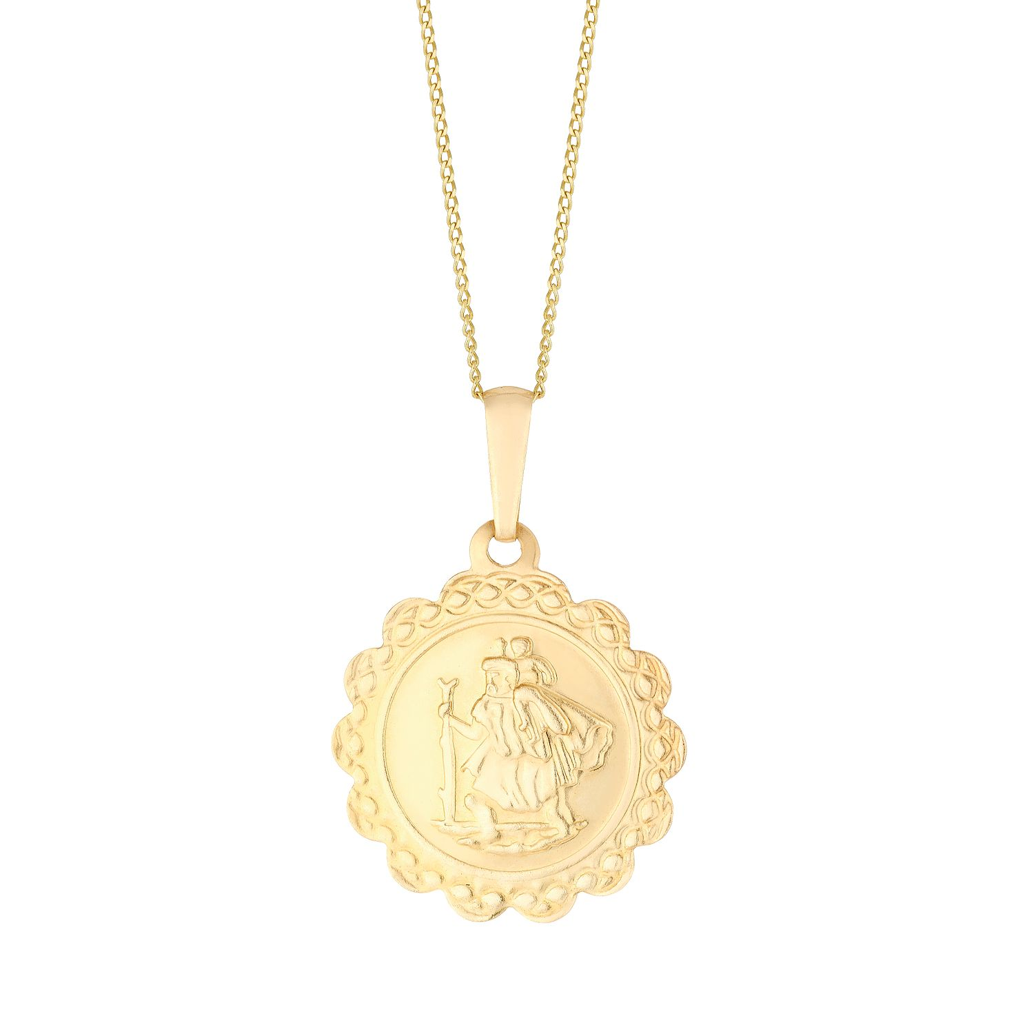9ct Yellow Gold Saint Christopher Scallop Pendant - Product number 3144321