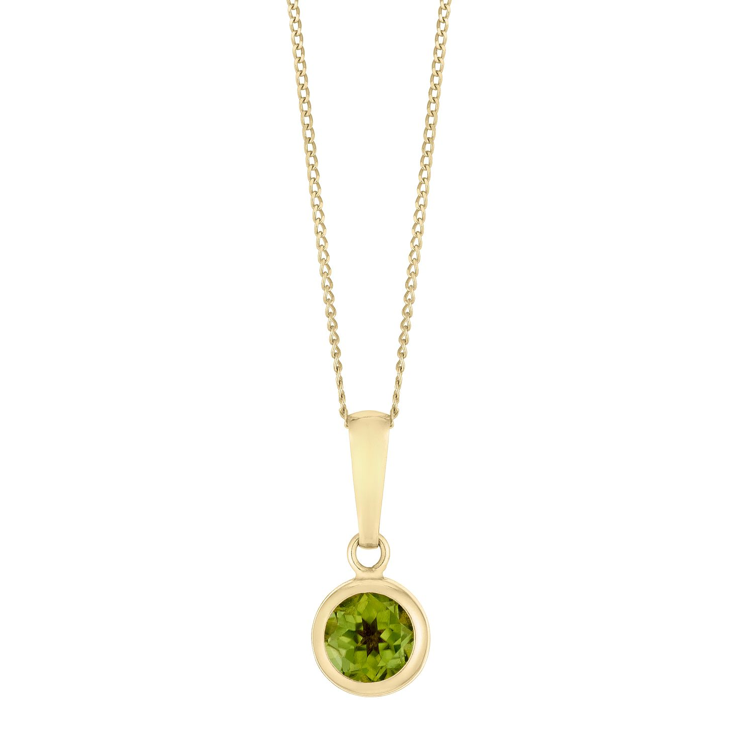 9ct Yellow Gold Peridot Round Pendant - Product number 3144348