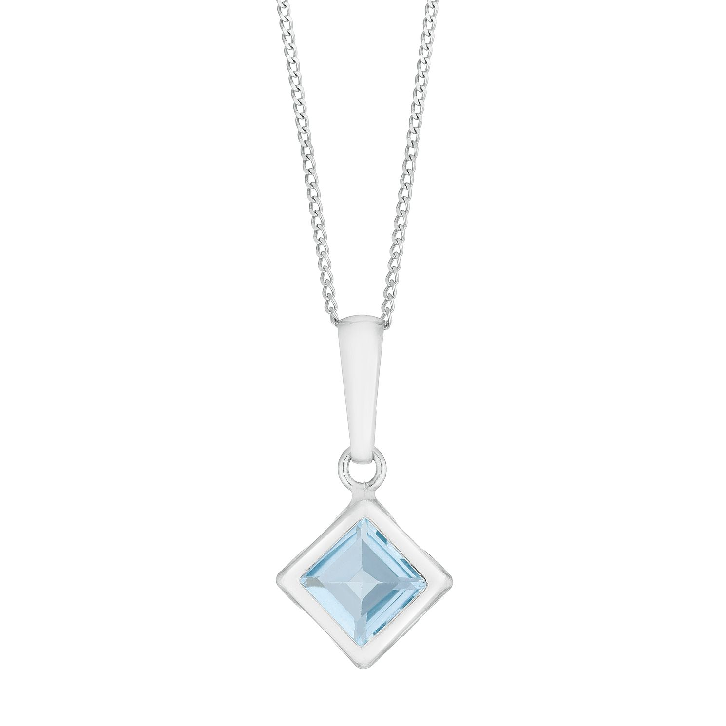 9ct White Gold Blue Topaz Square Pendant - Product number 3145328