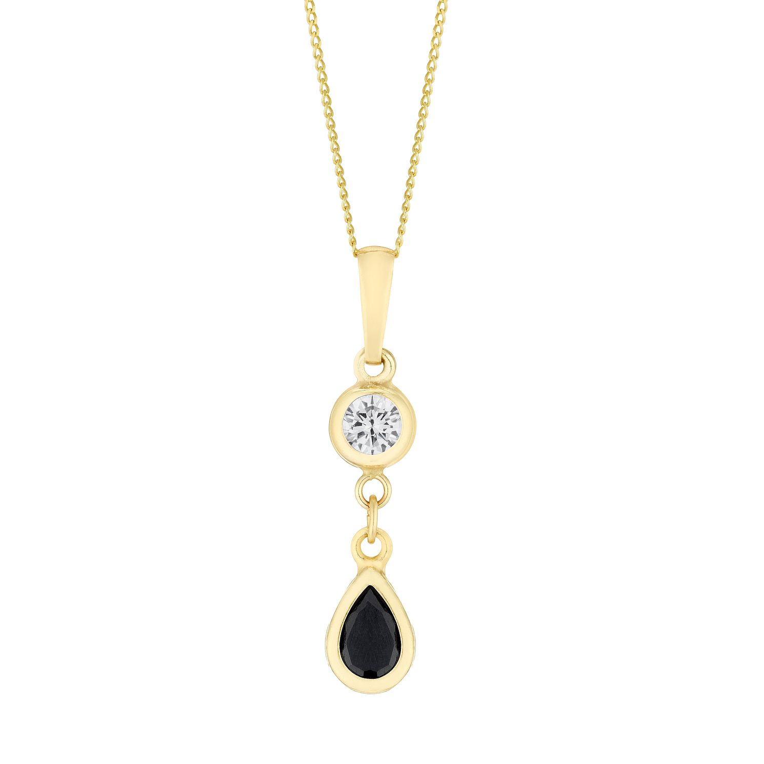 9ct Yellow Gold Sapphire & Cubic Zirconia Teardrop Pendant - Product number 3145336