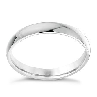 9ct white gold 3mm extra heavyweight court ring - Product number 3149471