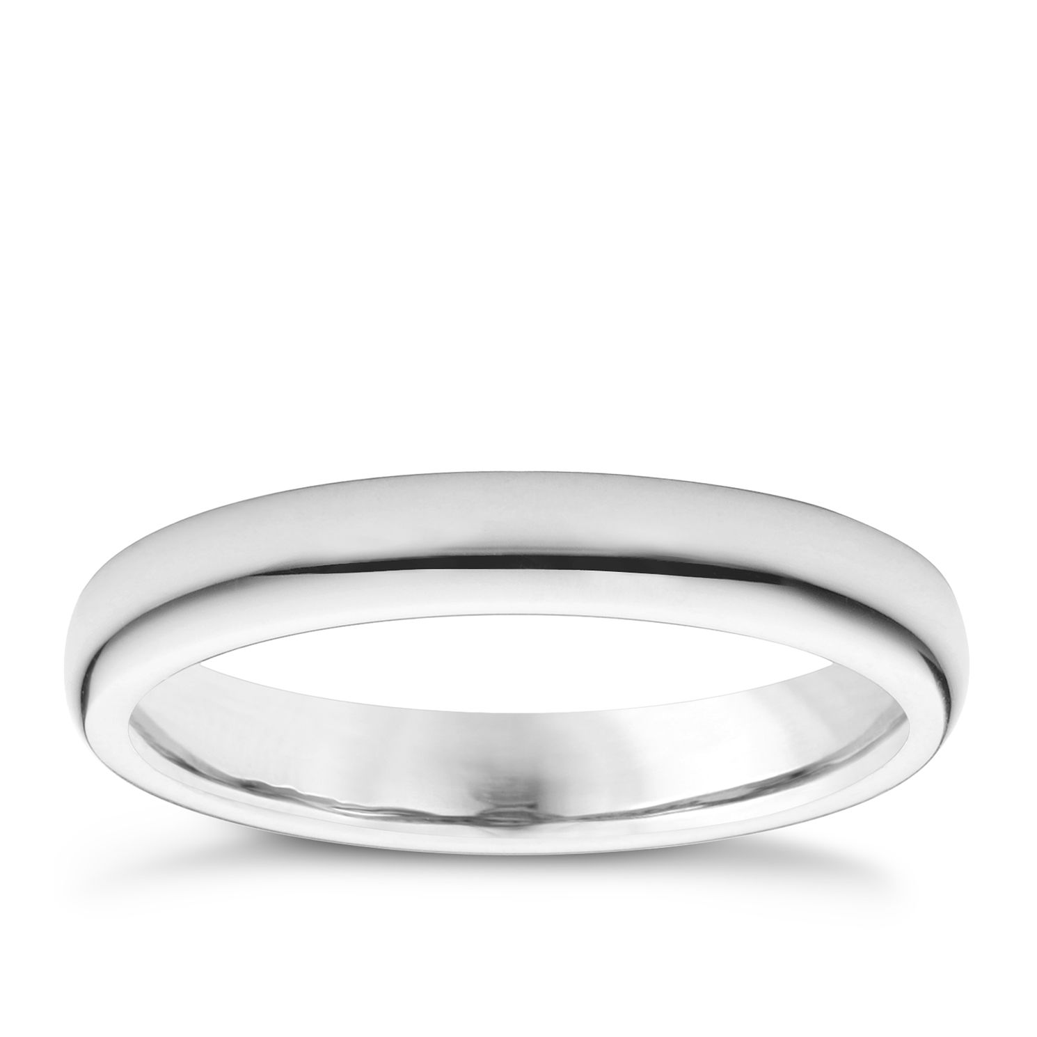 18ct White Gold 3mm Super Heavyweight Court Ring - Product number 3149501
