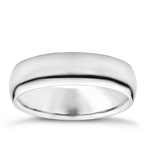 18ct white gold 5mm super heavyweight court ring - Product number 3149528