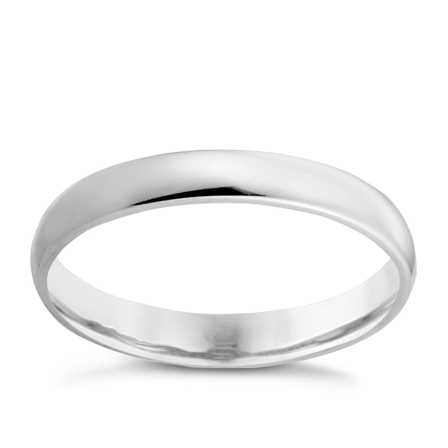 9ct White Gold 3mm Extra Heavy Court Ring - Product number 3152596
