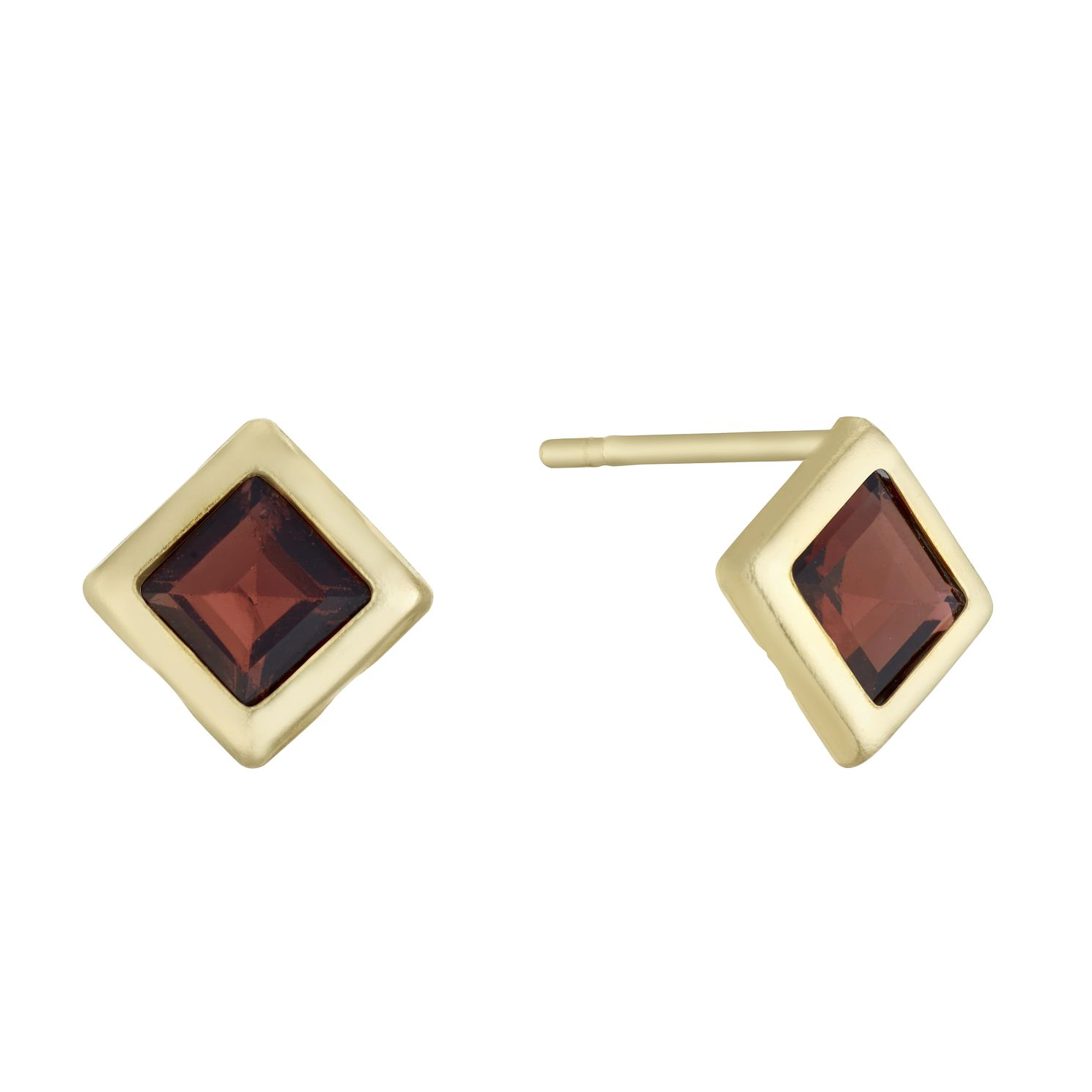 9ct Yellow Gold Garnet Square Stud Earrings - Product number 3152790