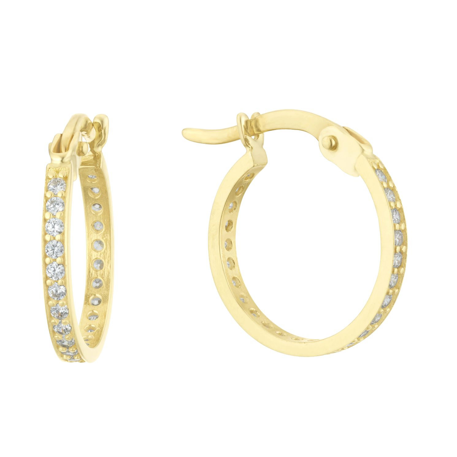 9ct Yellow Gold Cubic Zirconia Creole Hoop Earrings - Product number 3152812