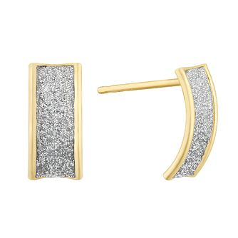 9ct Yellow Gold Glitter Curve Stud Earrings - Product number 3152839