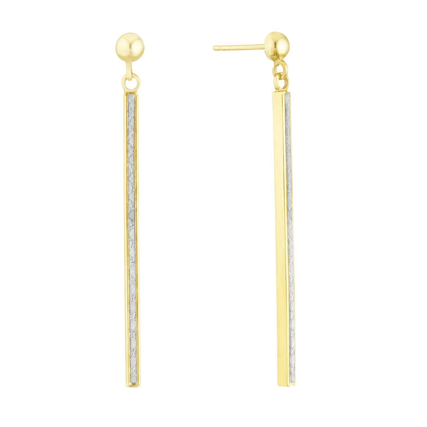 9ct Yellow Gold Glitter Long Bar Drop Earrings - Product number 3152863