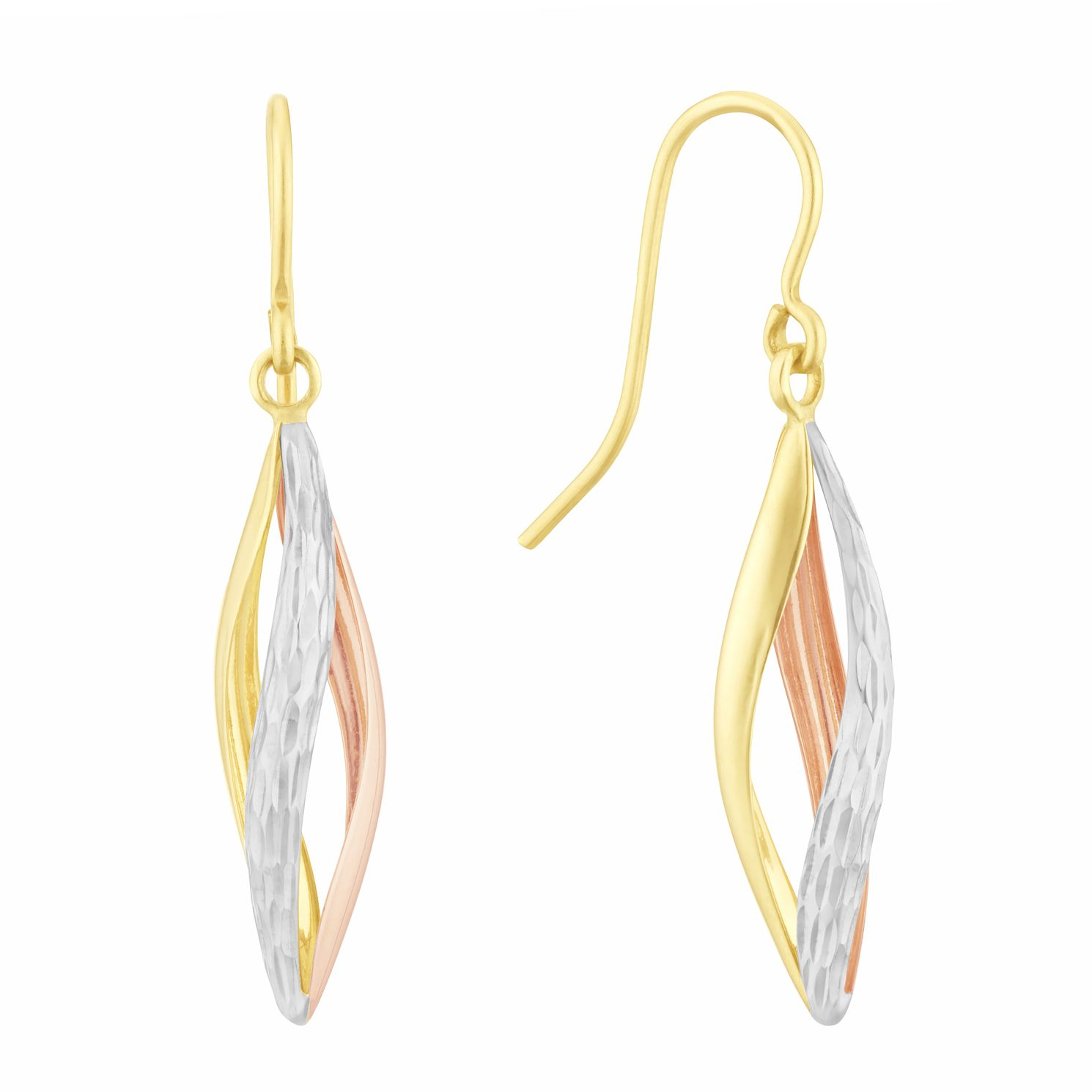 9ct Two Tone Gold Caged Drop Earrings - Product number 3152901