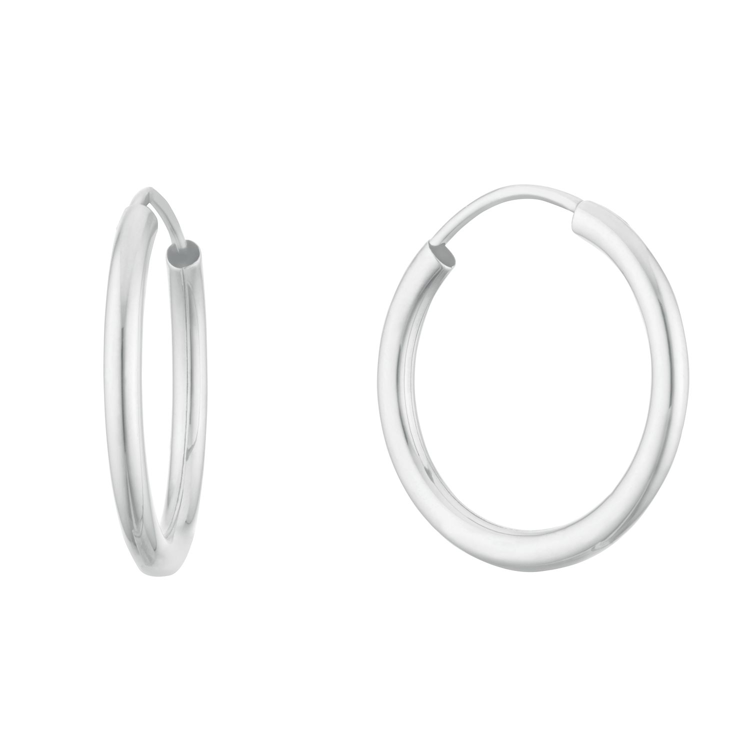 9ct White Gold 16mm Sleeper Earrings - Product number 3152944