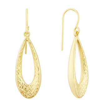 Together Silver & 9ct Bonded Gold Diamond Cut Drop Earrings - Product number 3152952