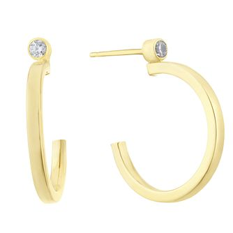 Together Silver & 9ct Bonded Yellow Gold CZ Hoop Earrings - Product number 3153045