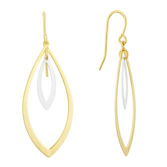 Together Silver & 9ct Bonded Gold Double Leaf Drop Earrings - Product number 3153061