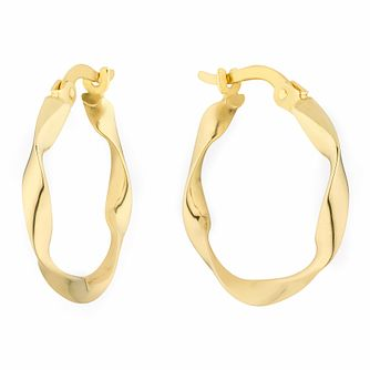 Together Silver & 9ct Bonded Gold Twist Creole Hoop Earrings - Product number 3153223
