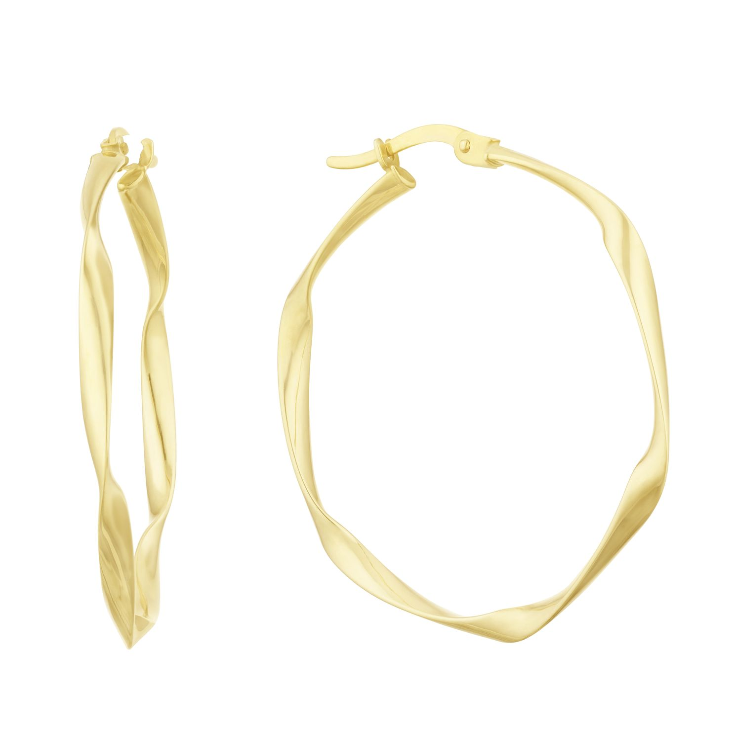 Together Silver & 9ct Bonded Gold Twist Creole Hoop Earrings - Product number 3153290
