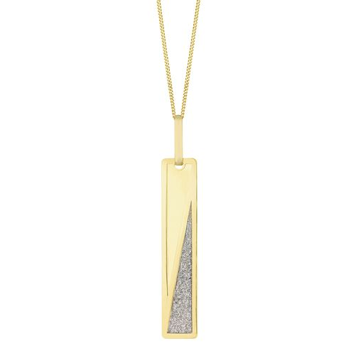 9ct Yellow Gold Diagonal Glitter Bar Pendant - Product number 3153304